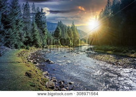 Day And Night Time Change Concept Above Mountain River In Forest. Beautiful Nature Scenery In Autumn