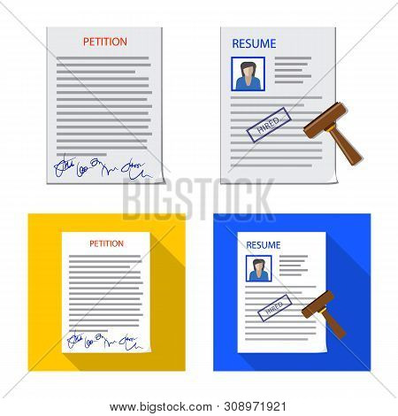 Vector Design Of Form And Document Symbol. Collection Of Form And Mark Stock Vector Illustration.