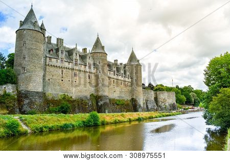 View From The Riverside Of Josselin´s Castle, Beautiful Village Of French Brittany