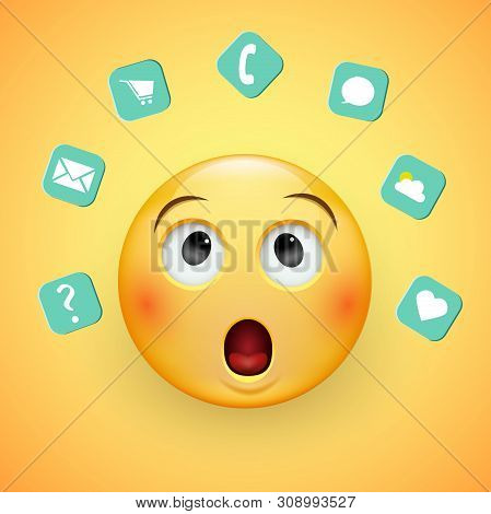 Puzzled Sad Face Of Emoticons With A Frown And Neutral Eyes On A Yellow Background. Confused Man The