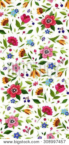 Vector Seamless Flower Pattern. Cute Floral Pattern With Small Colorful Flowers And Leaves. White Ba