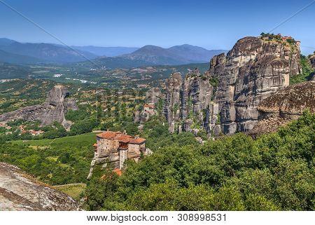 Landscape With Rousanou, The Nikolaos And The Great Meteoron Monasteries In Meteora, Greece