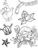 Set of Original designed vintage tattoo design vector images poster