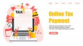 Webpage template. Online tax payment vector illustration concept. Filling tax form. poster