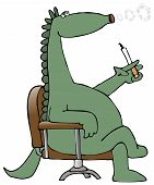 This illustration depicts a dinosaur sitting in a chair and blowing smoke rings from a cigarette. poster