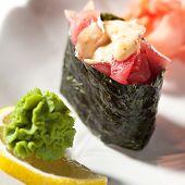 Spicy Tuna (maguro) Gunkan Sushi. Garnished with Ginger and Wasabi poster