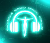 Acronym ASMR - Autonomous Sensory Meridian Response. Health care conceptual image. Woman silhouette. Neon bulb illumination. 3D rendering poster
