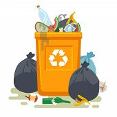 Overflowing trash can. Food garbage in waste bin with nasty smell. Rubbish dump and trash recycling, yellow bags and plastic vector isolated concept poster