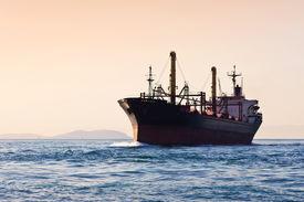 Silhouette of cargo ship