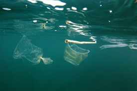 Plastic pollution in ocean. Plastic bottles, bags, cups and straws pollute sea