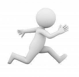 White Man Funny Runner Side View 3d Illustration On White Background