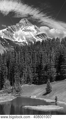 Grayscale. Summer Mountain View To Biberkopf Mount With Deep Blue Sky And Small Forest Lake (warth,