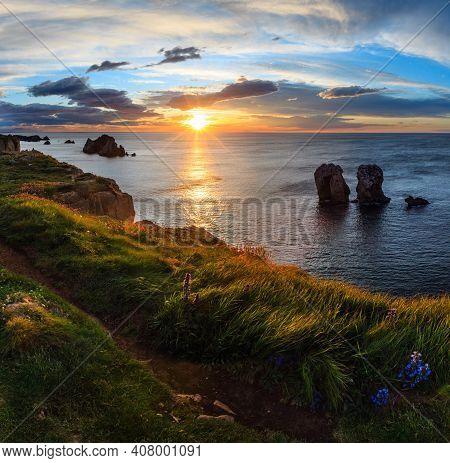 Sunset Arnia Beach (spain, Atlantic Ocean) Coastline Landscape. Two Shots Stitch Image.