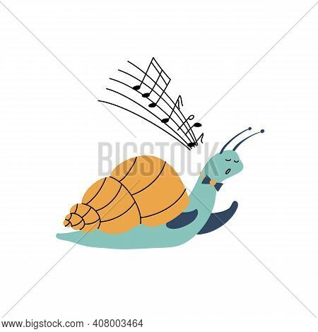 Vector Cartoon Illustration Of Funny Singing Snail. Cute Hand Drawn Kids Design Element Isolated On