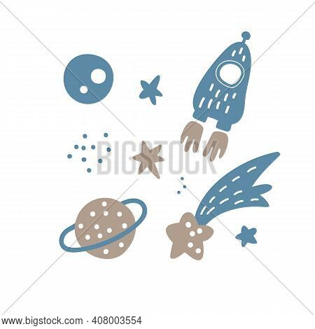 Vector Hand Drawn Space Elements Pattern. Space Background. Space Doodle Scandinavian Illustration.