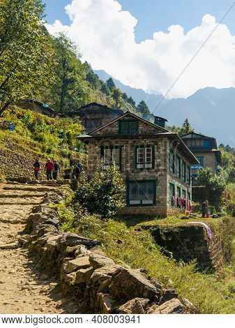 Old House In The Mountains, Guesthouse On The Trek In Nepal, Trekking In The Himalayas, Teahouse On