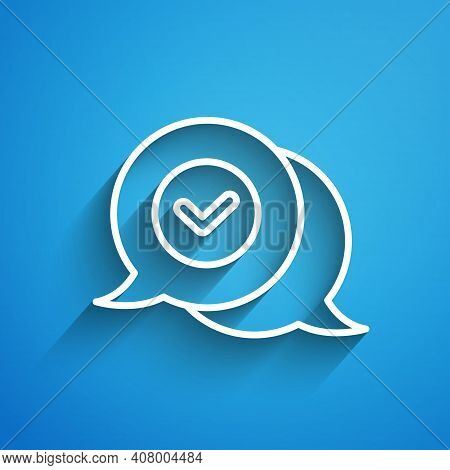 White Line Check Mark In Speech Bubble Icon Isolated On Blue Background. Security, Safety, Protectio