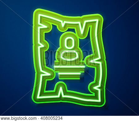Glowing Neon Line Wanted Western Poster Icon Isolated On Blue Background. Reward Money. Dead Or Aliv