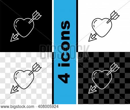 Set Line Amour Symbol With Heart And Arrow Icon Isolated On Black And White, Transparent Background.