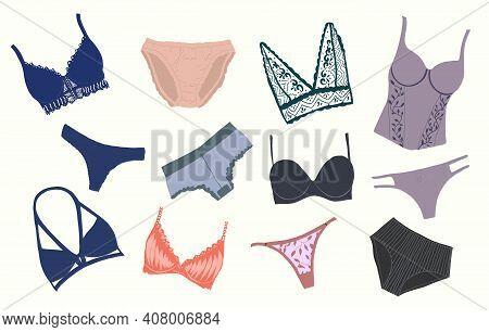 Fashionable Women's Underwear, Underwear Set. Panties, Bikinis, And Bras. Modern Hand-drawn Colorful