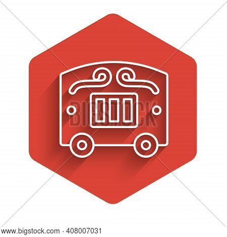White Line Circus Wagon Icon Isolated With Long Shadow. Circus Trailer, Wagon Wheel. Red Hexagon But