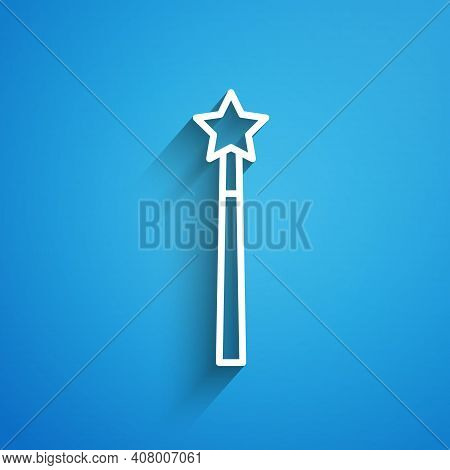 White Line Magic Wand Icon Isolated On Blue Background. Star Shape Magic Accessory. Magical Power. L