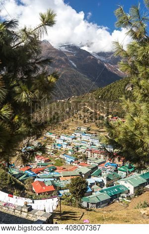Village In The Mountains, A View Of Namche Bazar In Nepal, Everest Base Camp Trek, In The Himalayas,