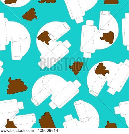 Dirty Diaper Pattern Seamless. Baby Nappy Background. Infant Underpants Texture
