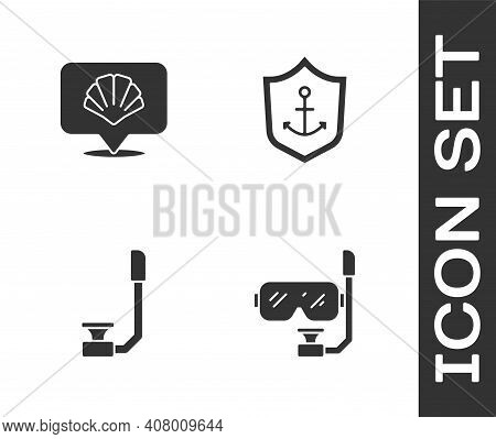 Set Diving Mask And Snorkel, Scallop Sea Shell, Snorkel And Anchor Inside Shield Icon. Vector