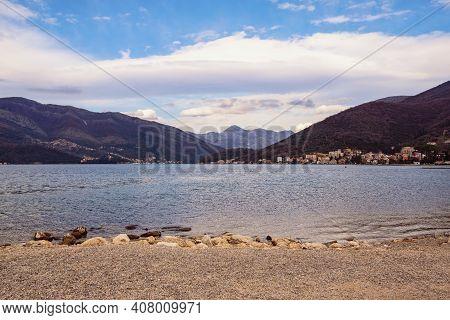 Winter Mediterranean Landscape. Montenegro, Adriatic Sea, View Of Deserted Beach And Kotor Bay Near