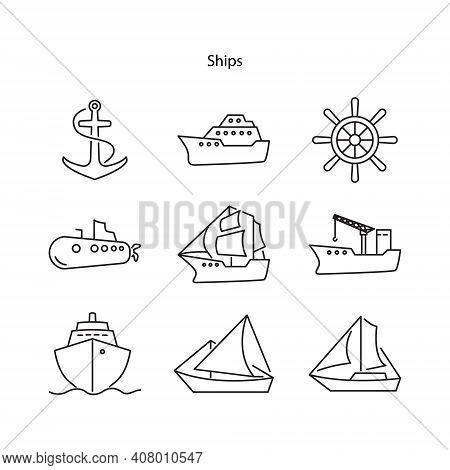 Ship Icon Set Isolated On White Background From Travel And Adventure Collection. Ship Icon Set Trend