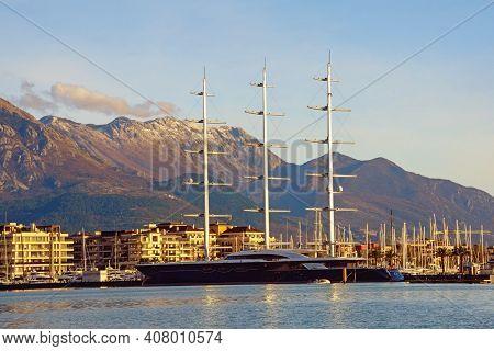 Tivat City,  Montenegro - January 30 2021:  View Of  Marina Porto Montenegro And Sailing Yacht Black