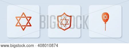 Set Shield With Star Of David, And Balloon Star David. White Square Button. Vector