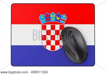 Computer Mouse And Mouse Pad With Croatian Flag, 3d Rendering Isolated On White Background