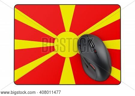 Computer Mouse And Mouse Pad With Macedonian Flag, 3d Rendering Isolated On White Background