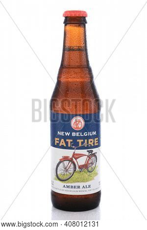 IRVINE, CA - JUNE 14, 2015: Fat Tire Amber Ale. A single bottle of Fat Tire Amber Ale from the New Belgium Brewing Company, of Fort Collins, Colorado.