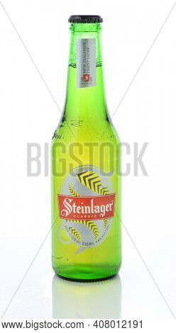 IRVINE, CA - JANUARY 11, 2015: A bottle of Steinlager Classic. The lager style beer has been produced by Lion Nathan since 1957 in Newmarket, New Zealand.
