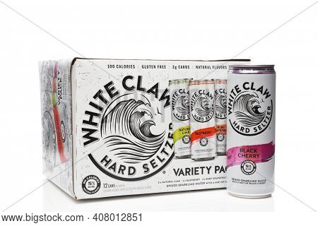 IRVINE, CALIFORNIA - 03 DEC 2019: White Claw Hard Seltzer 12 pack with one can.
