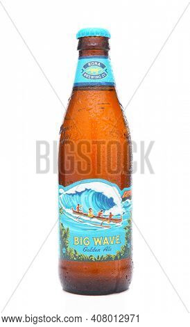 IRVINE, CALIFORNIA - MARCH 16, 2017: Kona Brewing Company Big Wave Golden Ale. The brewery is located in Kailua-Kona on the Big Island of Hawaii.