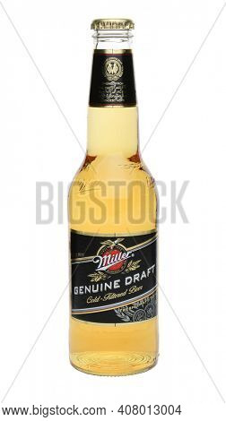 IRVINE, CA - MAY 27, 2014: A single bottle of Miller Genuine Draft on white. MGD is actually made from the same recipe as Miller High Life except it is cold filtered.