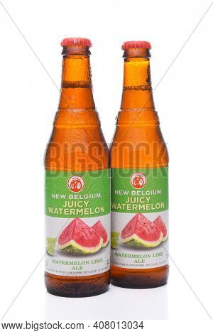 IRVINE, CA - JULY 16, 2017: New Belgium Watermelon Lime Ale two bottles. A craft brewery located in Fort Collins, Colorado. It was opened in 1991 by Jeff Lebesch and Kim Jordan.