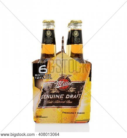 IRVINE, CA - MAY 25, 2014: A 6 pack of Miller Genuine Draft, end view.  MGD is actually made from the same recipe as Miller High Life except it is cold filtered.