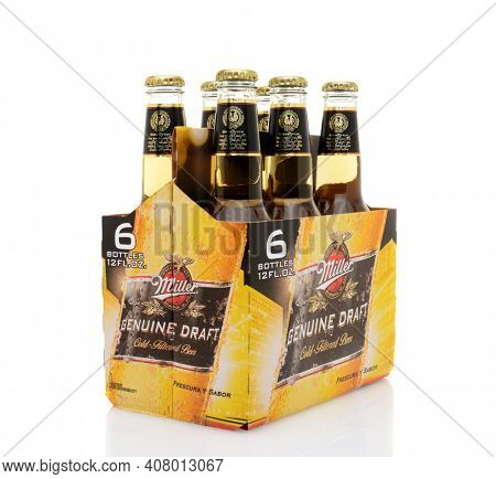 IRVINE, CA - MAY 25, 2014: A 6 pack of Miller Genuine Draft, side view. MGD is actually made from the same recipe as Miller High Life except it is cold filtered.