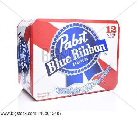 IRVINE, CALIFORNIA - MARCH 16, 2017: Pabst Blue Ribbon Beer. Twelve pack cans of the American brand introduced in 1884 in Milwaukee, currently based in Los Angeles.