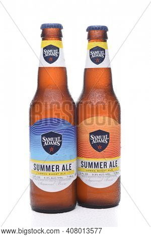 IRVINE, CA - JULY 16, 2017: Samuel Adams Summer Ale two bottles. From the Boston Beer Company. Based on sales in 2016, it is the second largest craft brewery in the U.S.