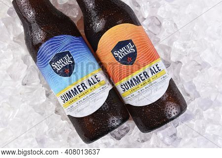 IRVINE, CA - JULY 16, 2017: Samuel Adams Summer Ale on ice. From the Boston Beer Company. Based on sales in 2016, it is the second largest craft brewery in the U.S.