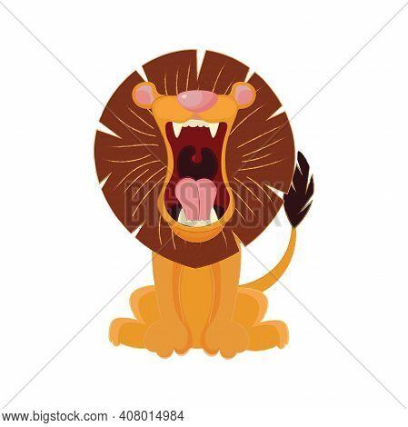 Roaring Lion Isolated On White Background Cartoon Illustration.