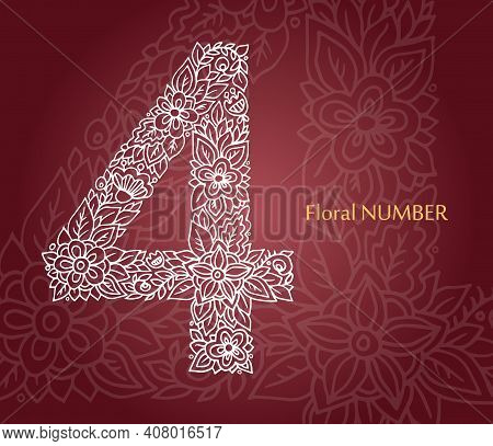 Floral Number 4 Made Of White Line Leaves And Flowers On Burgundy Background. Typographic Element Fo