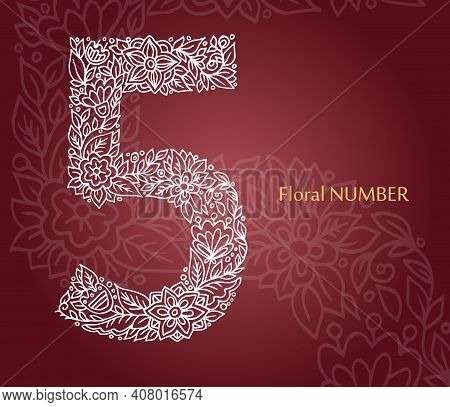 Floral Number 5 Made Of White Line Leaves And Flowers On Burgundy Background. Typographic Element Fo