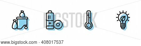 Set Line Meteorology Thermometer, Full Dustbin, Battery And Light Bulb With Leaf Icon. Vector